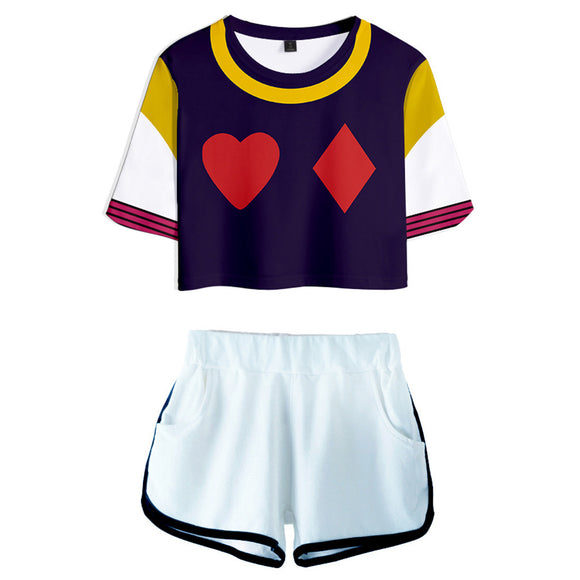 Women HUNTER×HUNTER Hisoka Cosplay Crop Top & Shorts Set Summer 2 Pieces Casual Clothes