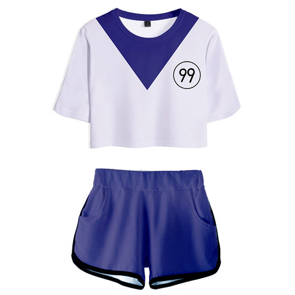 Women HUNTER×HUNTER Killua Zoldyck Cosplay Crop Top & Shorts Set Summer 2 Pieces Casual Clothes