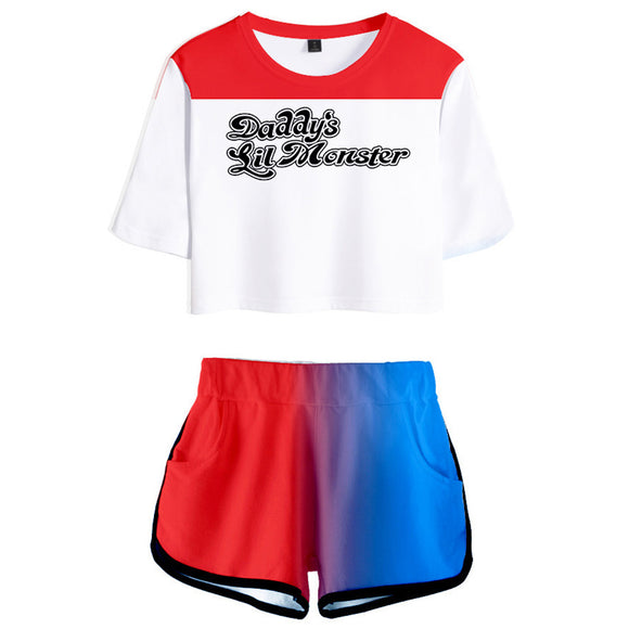 Women Suicide Squad Harley Quinn Cosplay Crop Top & Shorts Set Summer 2 Pieces Casual Clothes