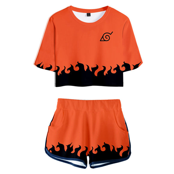 Women Naruto Crop Top Sets Sixth Hokage Cosplay Short Sleeve T-shirt Shorts 2 Pieces Sets Casual Clothes