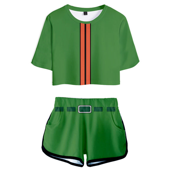 Women HUNTER×HUNTER Gon Freecss Cosplay Crop Top & Shorts Set Summer 2 Pieces Casual Clothes
