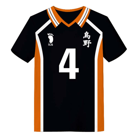 Unisex Haikyuu!! T-shirts Karasuno High School Away Team Uniform Nishinoya Yuu Cosplay Casual Shirt