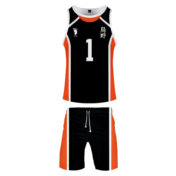 Men Haikyuu!! Sawamura Daichi Cosplay Tank Tops & Shorts Set Summer Cool Sleeveless Vest Casual Clothes