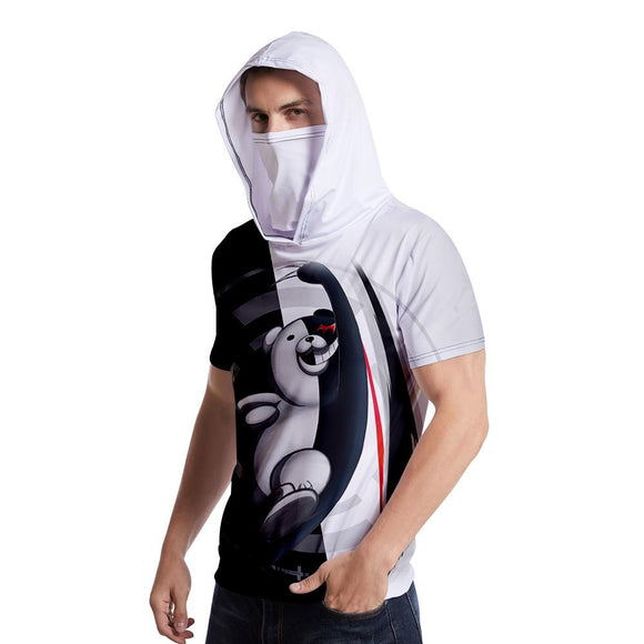 Unisex Danganronpa T-Shirt Monokuma Cosplay Hooded Short Sleeve Pullover Tee Tops