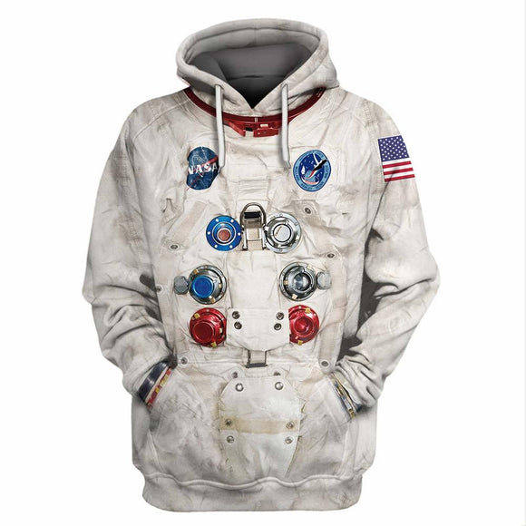 Adult Unisex Casual Astronaut Spacesuit Outfits Halloween 3D Armstrong Space Pullover Hoodies Sweatshirt