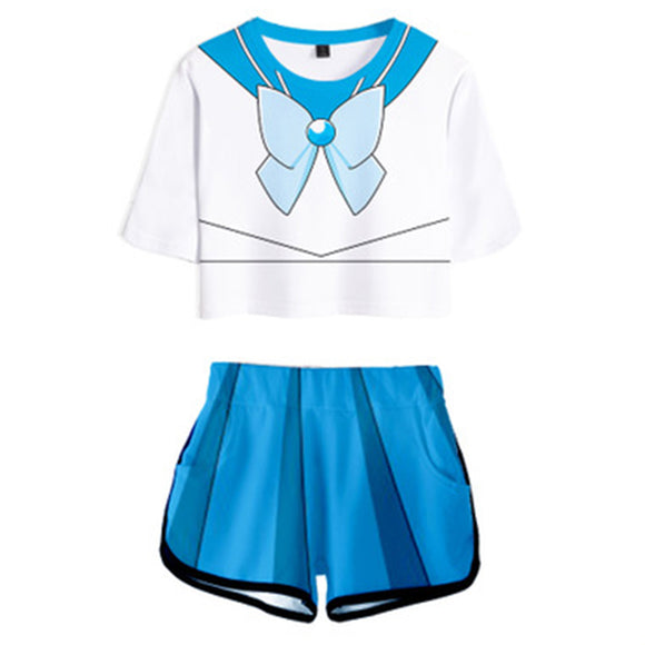 Women Sailor Moon Mizuno Ami Cosplay Crop Top & Shorts Set Summer 2 Pieces Casual Clothes