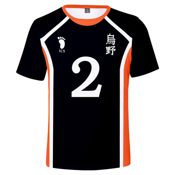 Unisex Anime Haikyuu!! Cosplay T-shirt Karasuno High School Volleyball Club Uniform Shirt 3D Print Short Sleeve Top