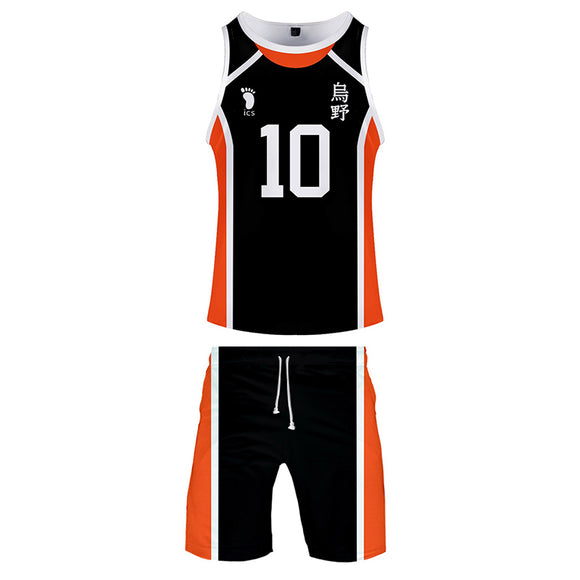 Men Haikyuu!! Hinata Shoyo Cosplay Tank Tops & Shorts Set Summer Cool Sleeveless Vest Casual Clothes