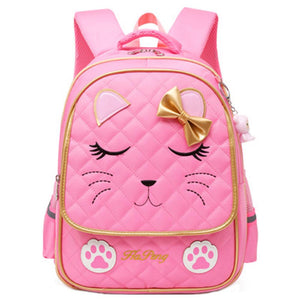 Cat Face Waterproof Girls Backpack Kids School Bookbag for Primary Students