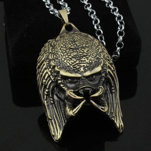 Predator Antique Silver Vintage 3D Mask Pendant Necklace-Fandomsky