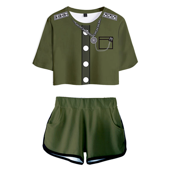 Women Danganronpa V3: Killing Harmony Korekiyo Shinguji Cosplay Crop Top & Shorts Set Summer 2 Pieces Casual Clothes