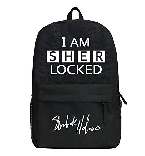 Sherlock Holmes Backpack Black School Traveling Unisex-Fandomsky