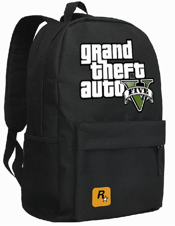 Grand Theft Auto Backpack Black School Travel-Fandomsky