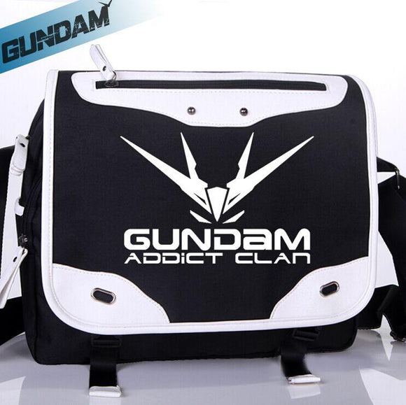 GUNDAM Crossbody Bag Black and White canvas PU-Fandomsky