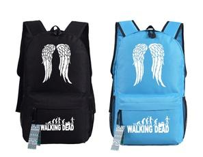 The Walking Dead White Wings Canvas Backpack Travel Laptop Bag-Fandomsky