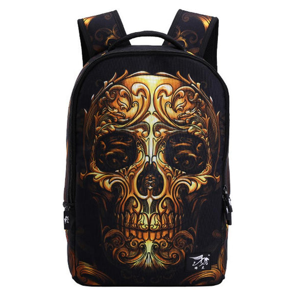 Golden Crown Skull Schoolbag-Fandomsky
