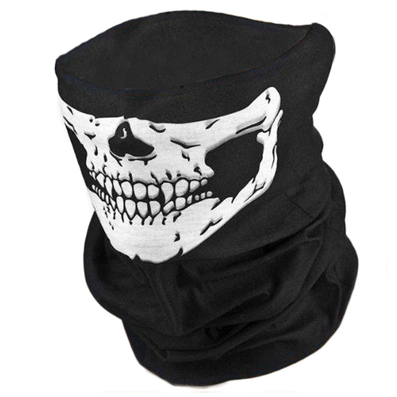 Skull Print Headband Face Shield Bandana Head Wrap Scarf Neck Warmer Headwear Balaclava for Cycling Motorcycle