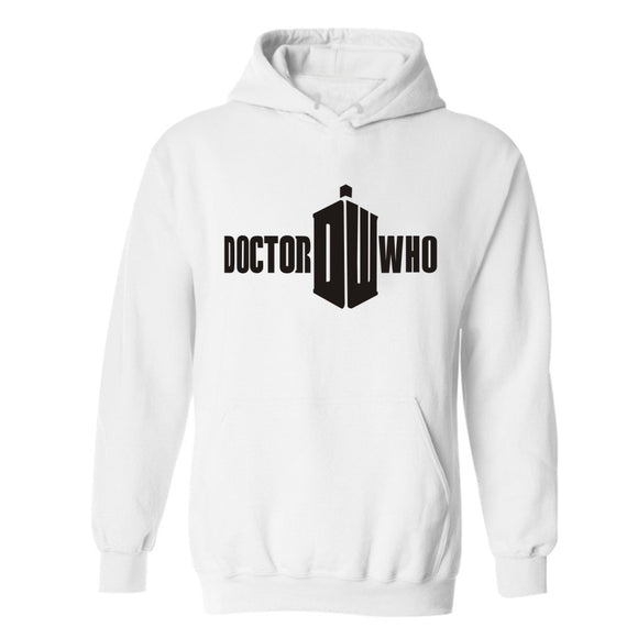 Doctor Who Logo Hoodie Hooded Sweatshirt Pullover White-Fandomsky
