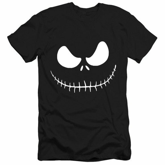 Nightmare Before Christmas Cartoon Jack SkellingtonMen T-Shirt Grimace 4 Colors-Fandomsky