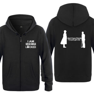 Unisex Autumn Hoodie I'm Sherlock Holmes Letters Printed Zip-up Sweat-shirt
