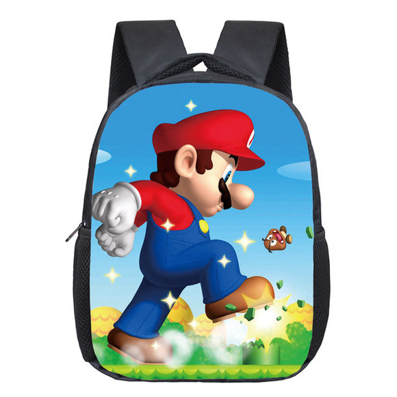 Super Mario Cartoon 3D Print Backpack For Kids-Fandomsky