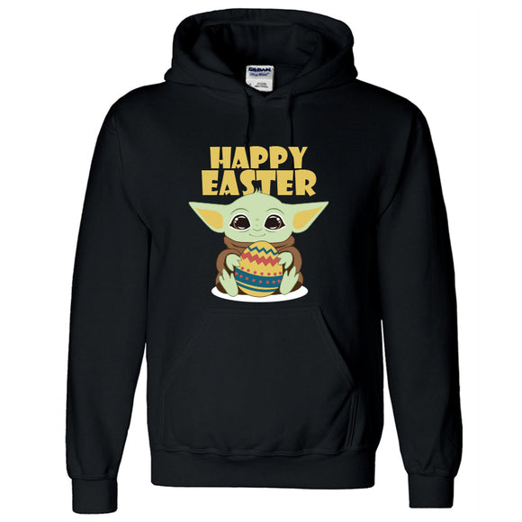 Unisex Happy Easter Baby Yoda Hoodie Easter Bunny Egg Hooded Pullover Sweatshirt