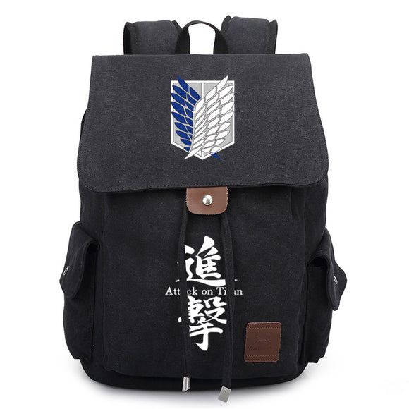 Attack on Titan Wings of Liberty Canvas Backpack Schoolbag-Fandomsky