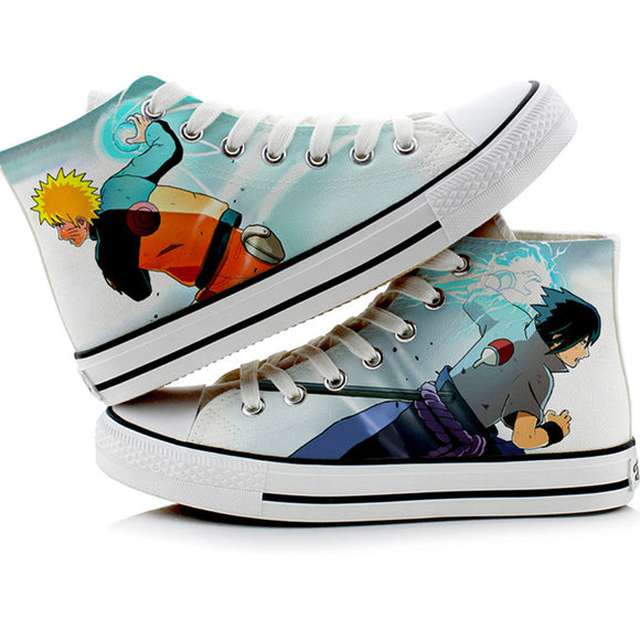 Naruto Anime Uzumaki Naruto Uchiha Sasuke Cosplay Shoes Canvas Shoes Sneakers-Fandomsky