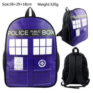 Doctor Who Traveling Backpack School Canvas Blue-Fandomsky
