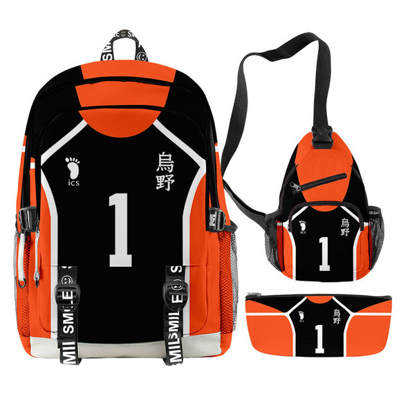 3pcs Haikyuu!! Backpack Set Karasuno High School Student School Bag Anime Fans Gift Travel Backpack Daypack