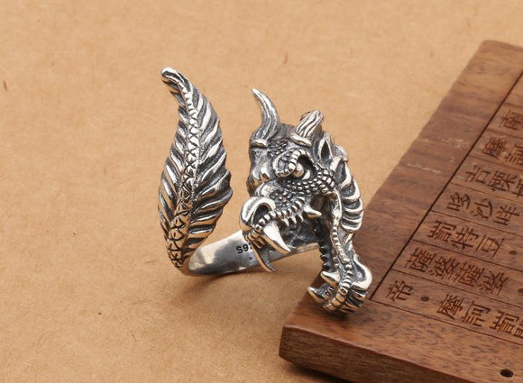 Sterling Silver Dragon Head and Tail Ring