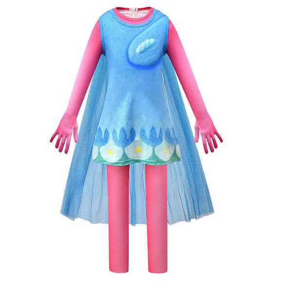 Kids Trolls World Tour Poppy Cosplay Zentai Suit Halloween Costume Children Jumpsuit Bodysuit Outfits