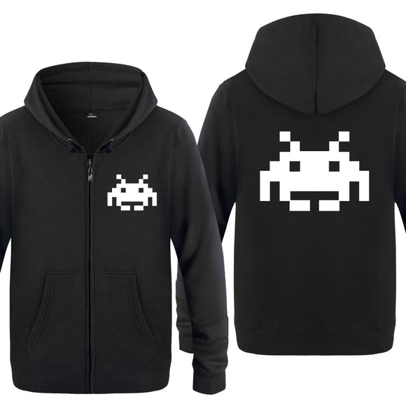 Unisex Neon Retro Gaming Space Invader Mens/Womens Hoodie-Fandomsky