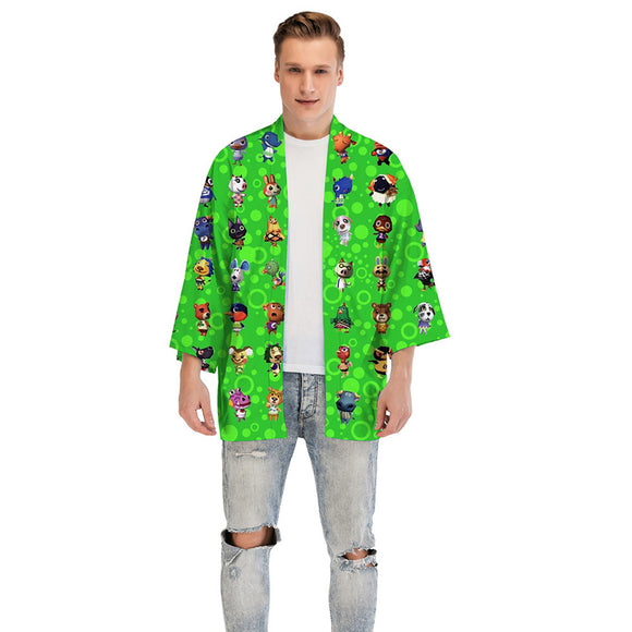 Unisex Animal Crossing Kimono Coat Village Printed Cosplay Costumes Halloween Costume Cloak