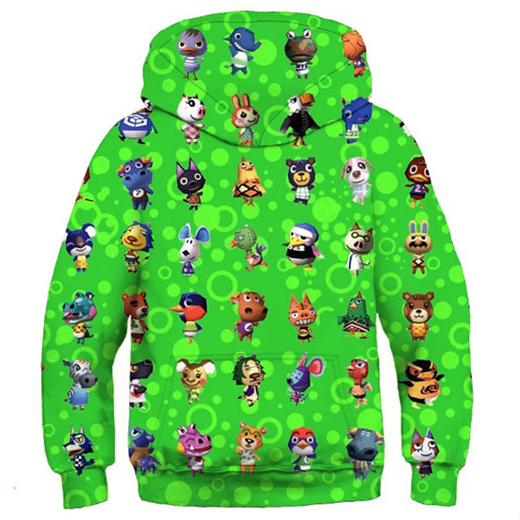 Kids Animal Crossing Hoodies Village Printed Pullover 3D Print Jacket Sweatshirt