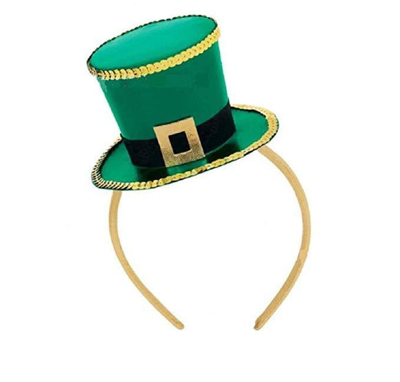 St Patrick's Day Top Hat Headband Shamrock Hat Hair Hoop Headpiece-Fandomsky