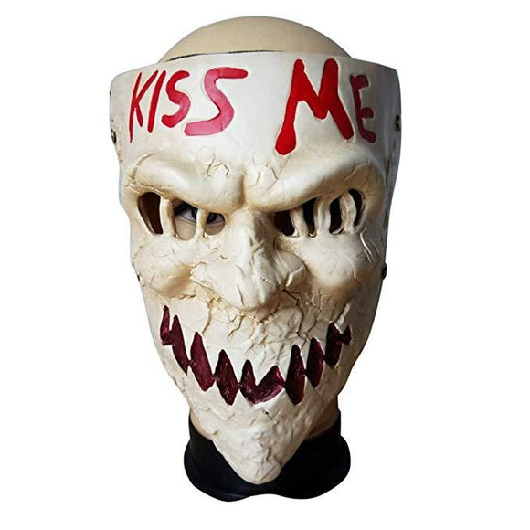 The Purge Kiss Me Resin Mask Horror Game Scary Mask for Halloween Masquerade Party Festival Club