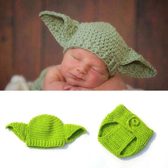 Crochet Star Wars Yoda Baby Hat Beanie Newborn Baby Costume Fotografia Props Photography Accessories