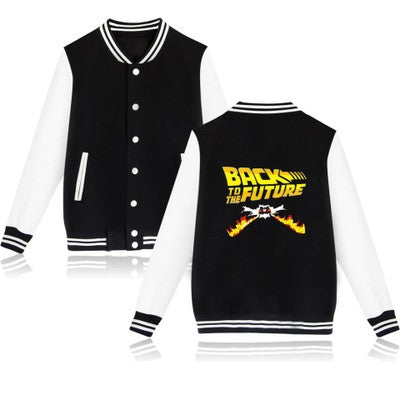 Back To The Future Sci-Fi Movie Items Delorean ClockTower Boys Youth Letterman Jacket-Fandomsky