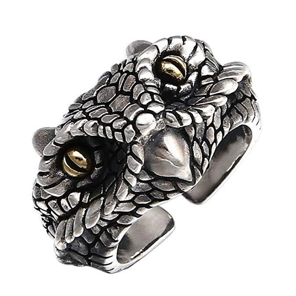 Two Tone 925 Sterling Silver King Cobra Snake Head Open Ring
