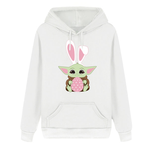 Unisex Easter Baby Yoda Hoodie Cute Cartoon Easter Eggs Easter Bunny Hooded Pullover Sweatshirt