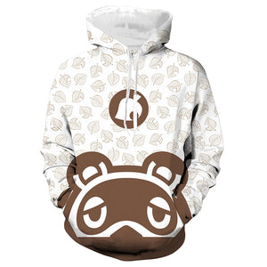 Unisex Animal Crossing Hoodie Tom Nook Printed Spring Autumn Hooded Sweatshirt Men Women Pullover Top
