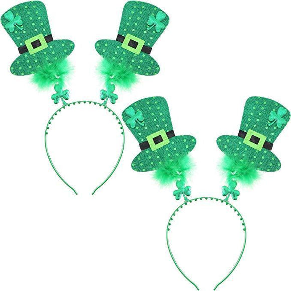 St. Patrick's Day Green Headband Head Boppers with Hats Decor Shamrock Headband-Fandomsky