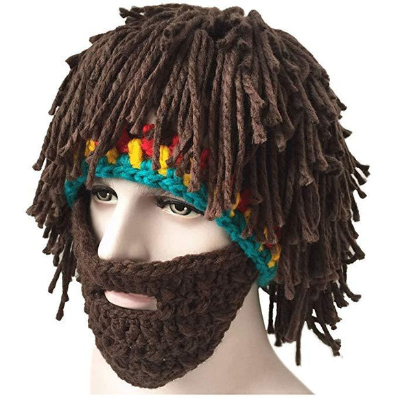 Creative Original Barbarian Knit Beard Hat Wig Beanie Hat Funny Knit Hat Beard Facemask-Fandomsky