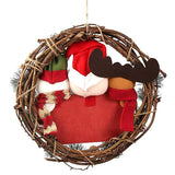 Merry Christmas Small Grapevine Wreath Front Door Decorations-Fandomsky