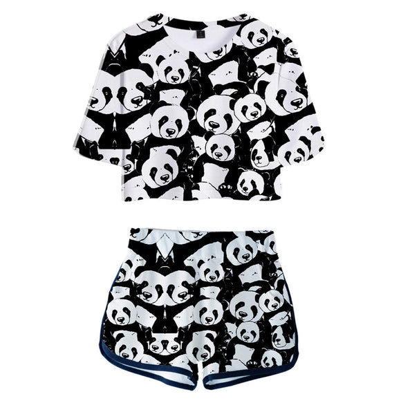 Women Crop Top & Shorts Set Animal Panda Printed Summer 2 Pieces Casual Clothes