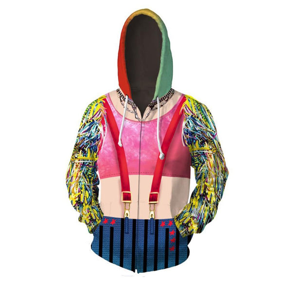 Unisex Birds of Prey Hoodie Joker Harley Quinn Sweatshirt Coat Jacket 3D Printed Zip Up Hoodie
