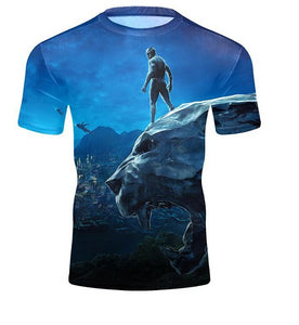 Unisex 3D Print Black Panther T-Shirts  Crew Neck Short SleeveComfortable