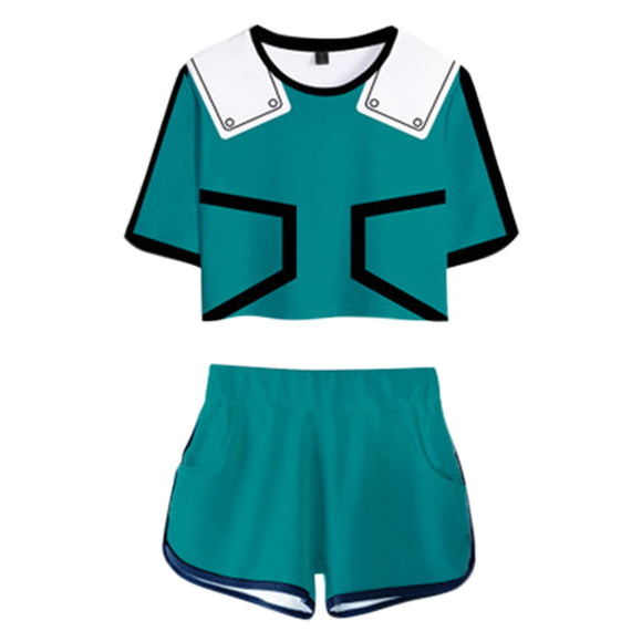 Women My Hero Academia Crop Top Sets Midoriya Izuku Cosplay Short Sleeve T-shirt Shorts 2 Pieces Sets Casual Clothes