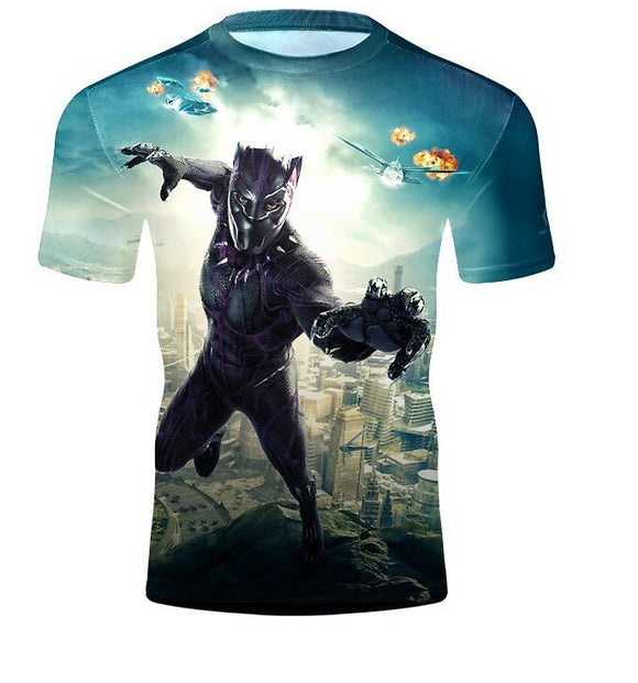 Unisex 3D Print Black Panther T-Shirts Crew Neck Casual Short Sleeve Shirt-Fandomsky